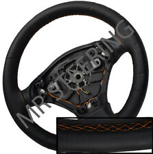 FOR TOYOTA VERSO 2009+ BLACK ITALIAN LEATHER STEERING WHEEL COVER ORANGE STITCH