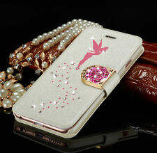 Luxury Slim Leather Magnetic Bling Diamond Wallet Cover Case For iPhone Samsung