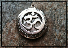 "Silver Circle OHM PHOTO LOCKET on sterling 18"" chain necklace spiritual Buddhist"