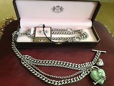 Juicy Couture Adjustable Chanel Link Chain Belt Necklace With Heart Locket