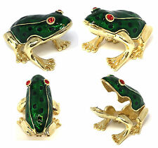Baby Frog Trinket Jewelry Box with Austrian Crystals Magnetic Closure