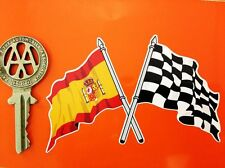 Crossed Spanish Flag & Chequered sticker Spain Espana