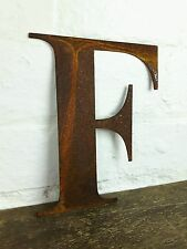 F Rusty Rusted Steel Metal Letter Industrial Sign Garden Decoration Ornament