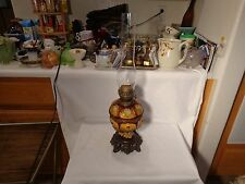 """RARE 19TH CENTURY MAJOLICA PINK WHITE YELLOW ROSES 23 3/8"""" TALL OIL LAMP  -  NR"""