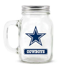 Dallas Cowboys Mason Jar - 20oz Glass With Lid [NEW] NFL Mug Pint CDG
