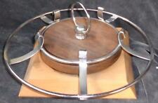 Wonderful Vintage Wood and Metal Turning Cup Rack - Wooden Base and Center
