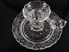 EAPG GLASS FINGER HOLE CANDLESTICK HOLDER UNKNOWN PATTERN DIAMONDS & DOTS  NICE