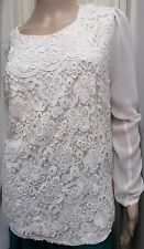 """STUNNING OASIS CREAM LACE FRONT SHEER SLEEVE TOP SIZE L ARMPIT TO ARMPIT 40"""""""