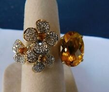14K Yellow Gold Citrine Diamond Flower Between The Finger Cocktail Ring Size 7