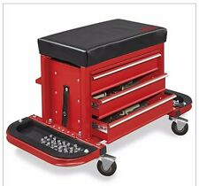 NEW! Rolling Tool Box Chest with Padded Seat Red Free Shipping