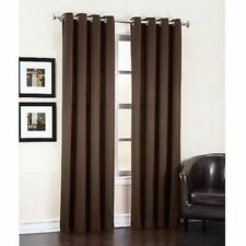 4 BROWN PANEL FAUX SILK  BLACKOUT HEAVY THICK GROMMET WINDOW CURTAIN LINED DRAPE