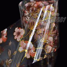 Nail Art DIY Decal Flower Nail Glue Transfer Foil Brown Gold Wildflower G17