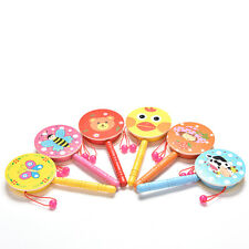 1X Rattle Drum Cartoon Baby Kid Percussion Educational Musical Instrument Toy MW