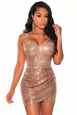 NEW ROSE GOLD SEQUIN SPARKLE WRAP MINI  BOUTIQUE DRESS SIZE 10-12