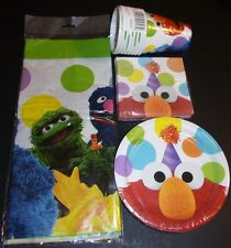 Sesame Street birthday party lot napkins plates cups table cover serves 8 Elmo