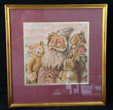 """Old Time Santa Claus Blue Robe Embroidery Tapestry Fabric Matted And Framed 15"""""""
