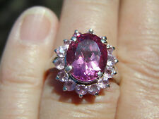 Platinum/SS 4.25ct Oval Pink Mystic Topaz w/1.00ct Pink Sapphire Frame, Size 7
