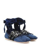 Miu Miu Denim Blue Velvet Lace Up Ballerina Flats Shoes Size 38.5 / 8.5