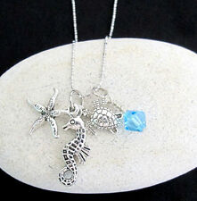 Ocean Life Charms Necklace,Under Sea Animal Charms,Sea Horse,Turtle,Star Fish