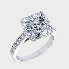 D/VVS1 Engagement Ring 3 Carat Cushion Cut 14k White Gold Bridal Diamond Jewelry