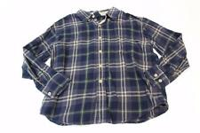 K4646 Boys GAP KIDS blue/tan/green plaid FLANNEL BUTTON DOWN SHIRT, small/5-6