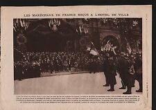 WWI Maréchaux  France Petain Foch Joffre Hôtel de Ville Paris 1919 ILLUSTRATION