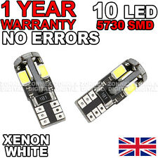 501 W5W T10 Canbus No Error Pure White 10 SMD LED Sidelight Bulbs for Audi