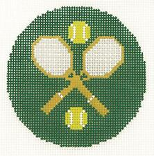 "*NEW* LEE Tennis Rackets & Balls 3"" Rd. handpainted Needlepoint Canvas Ornament"