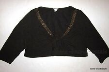 FASHION BUG NEW Womens PLUS Size 18 20 2X Brown Tie Front SHRUG Gold Bling