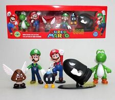 6pcs/set Super Mario Bros Mario Yoshi Mushroom Luigi PVC Action Figure Toy Boxed