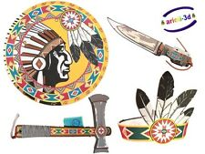 LIONTOUCH NATIVE AMERINDIAN INDIAN COSTUME SHIELD KNIFE TOMAHAWK COIFFE KID TOY