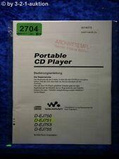 Sony Bedienungsanleitung D EJ750 /EJ751 /EJ753 /EJ755 CD Player (#2704)