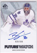 2011 11-12 SP Authentic #266 Ben Scrivens Autograph RC Rookie 920/999
