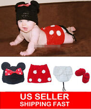 4pcs Newborn Baby Girls Knit Crochet Minnie Mouse Costume Photo Prop Outfit 248