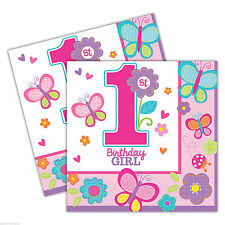 "36 Sweet Pink Butterfly Girl's 1st Birthday Party Disposable 6.5"" Paper Napkins"