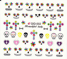 Nail Art Water Decals Glow in the Dark Halloween Skull Hearts Flowers GID002