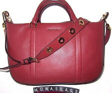 New Michael Kors Raven Luggage Brick Pebbled Leather Large Satchel Bag NWT $368
