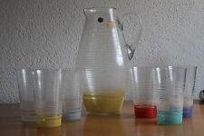 Altes Saftservice Kanne 6 Gläser Rockabilly 50er 60er Jahre Crystal