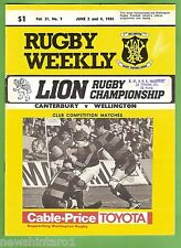 #SS. RUGBY UNION PROGRAM-  2ND & 4TH JUNE 1984, CANTERBURY VS WELLINGTON