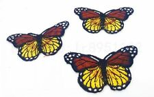 3pcs Iron On Patch Sew Embroidered Trim 8CM butterfly fabric stickers Coffee Z13