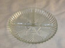 Vintage Pressed Glass Divided Serving Dish Tray 3 Compartments Candy Nuts Relish