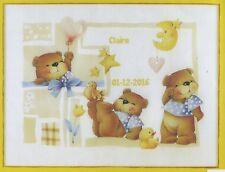 Stickpackung Stickbild sticken 49 x38 Baby Geburt Junge Mädchen Bär Teddy