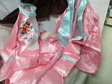 Pink & Turquoise satin Embroidered Chinese Pajama Set Box & Slippers & Robe MIB