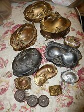 LOT ANTIQUE VICTORIAN GOLD GILT METAL JEWELRY TRINKET BOX  boxes cherub vintage