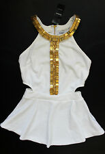 BEBE LISETTE WHITE BEADED CUT OUT PEPLUM NEW NWT TOP LARGE L
