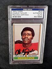 1974 TOPPS FOOTBALL CARD #510 HOF CHARLEY TAYLOR PSA/DNA SIGNED AUTO REDSKINS