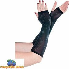 BLACK SPIDER WEB FINGERLESS GLOVES WITCH GLOVES- ladies womens fancy dress