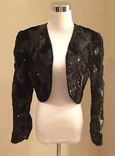 NOLAN MILLER VINTAGE SEQUIN BOLERO/CROPPED EVENING JACKET SIZE SMALL