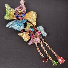STATEMENT GLAM FLOWER FLORAL DRAPE RHINESTONE CRYSTAL NECKLACE BROOCH PIN MULTI