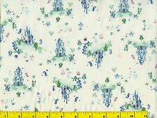 Cute Underwater Castles & Sea Horses Quilting Fabric by Yard #239